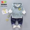 PRE-ORDER เสื้อผ้าเด็ก แบบเซต 3 ชิ้น เสื้อแขนสั้นมีฮูด เสื้อแขนยาว กางเกงขายาว