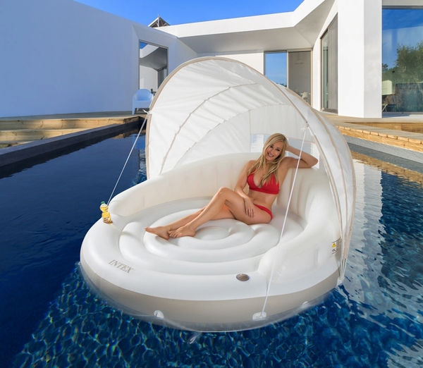 Pools Float with Canopy Adult Inflatable Pool Float Raft with Shade Water Lounge